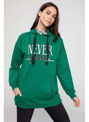DeFacto Kapşonlu Slogan Baskılı Büyük Cepli Sweatshirt Yeşil